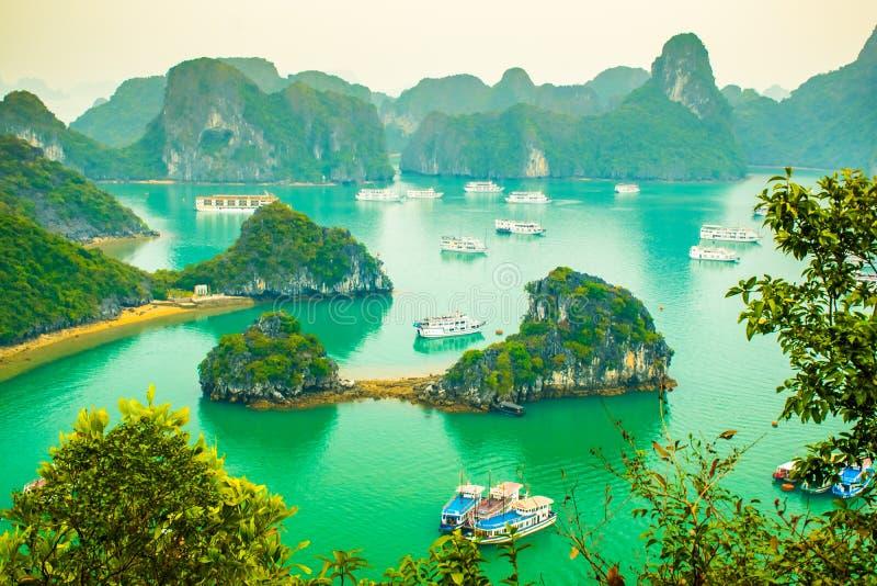 View point Ha Long Bay, limestone mountains, with cruise ships, Vietnam. View point Ha Long Bay, limestone mountains, with cruise ships in the water, Vietnam stock image