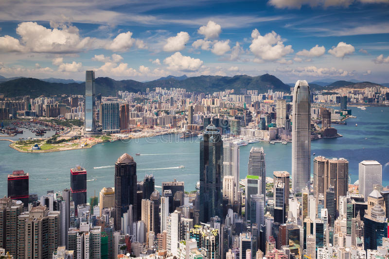 View point of Hongkong city and Kowloon city from the top of vic royalty free stock photo