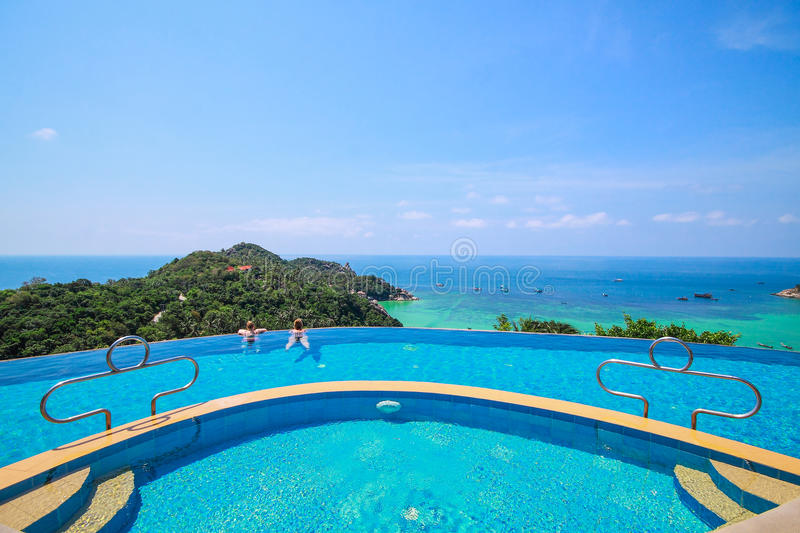 View point in infinity pool royalty free stock photography