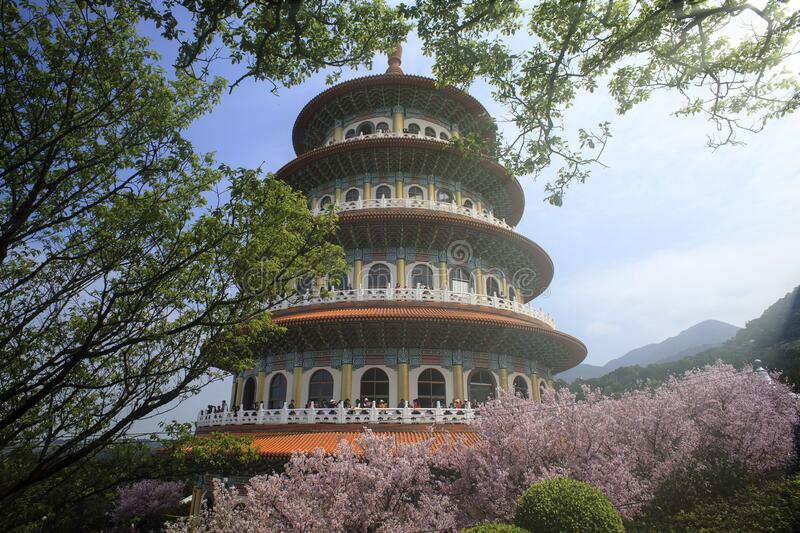 The View point Sakura cherry blossom at Tianyuan temple,The Tianyuan temple is famous for its beautiful scenery and a beautiful stock image
