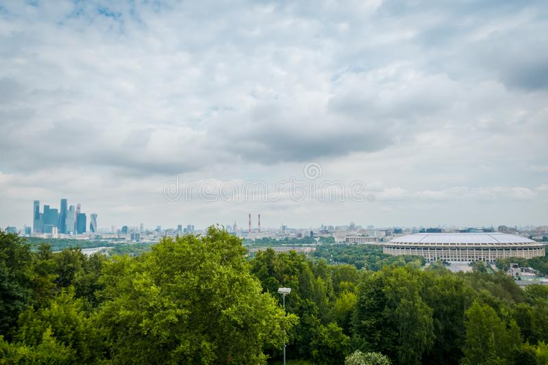 The view point at Sparrow Hills in Moscow, Russia. stock image