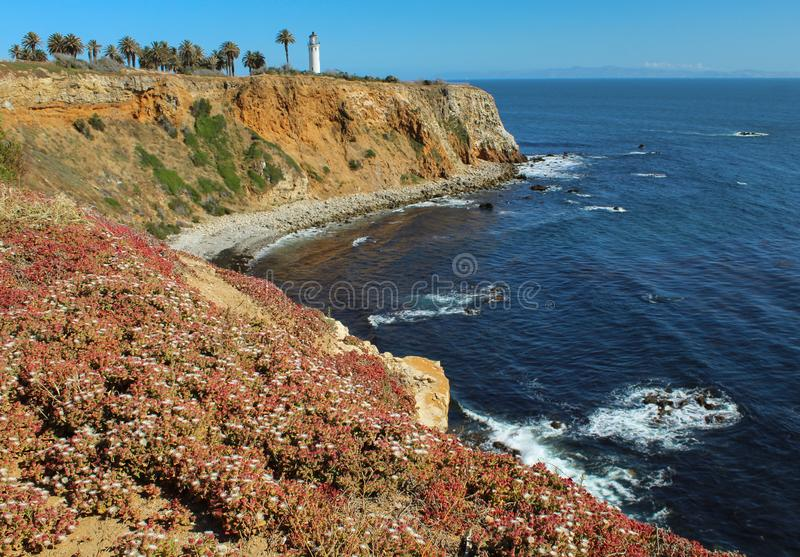 View of Point Vicente Lighthouse from the Bluff Trail on the Palos Verdes Peninsula, Los Angeles, California stock photography