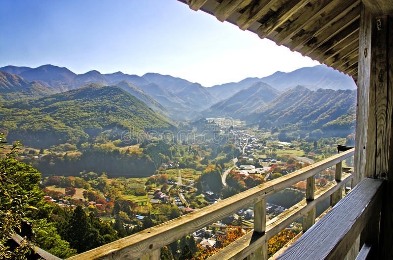 View point in Yamadera Temple. And Covered with fog on the mountain, Japan stock photo