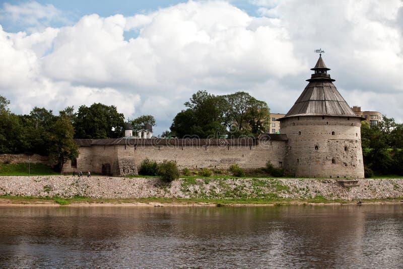 View of Pokrovskaya tower of fortress of Pskov stock photo