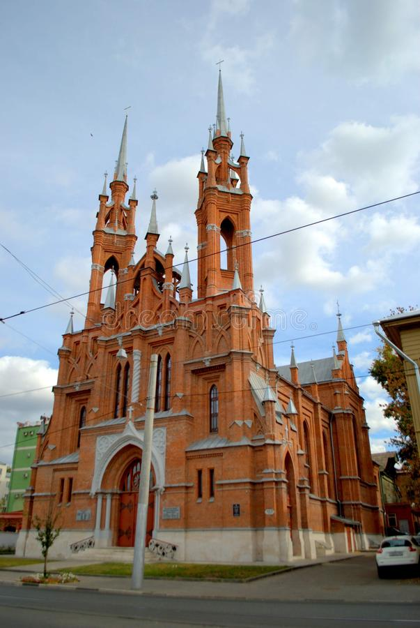 View of the Polish Church in the city of Samara, built in 1906. View of the Polish Church in the city of Samara, built in 1906 by the architect F. Bogdanovich stock photos