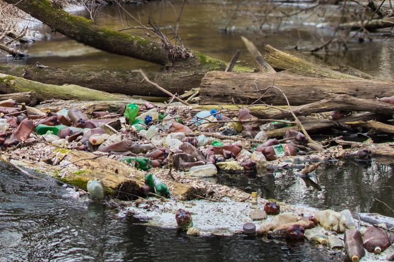 View of the polluted small forest river with a lot of different plastic garbage. Environment pollution problem. View of the polluted small river with a lot of stock photo