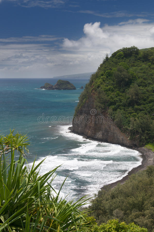 View from Pololu lookout, Big Island, Hawaii stock photo