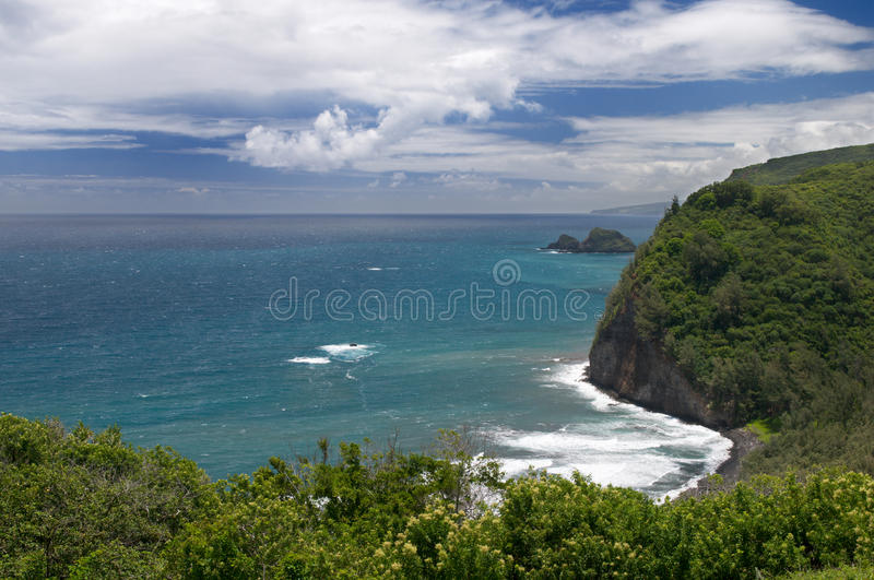 View from Pololu lookout, Big Island, Hawaii stock images