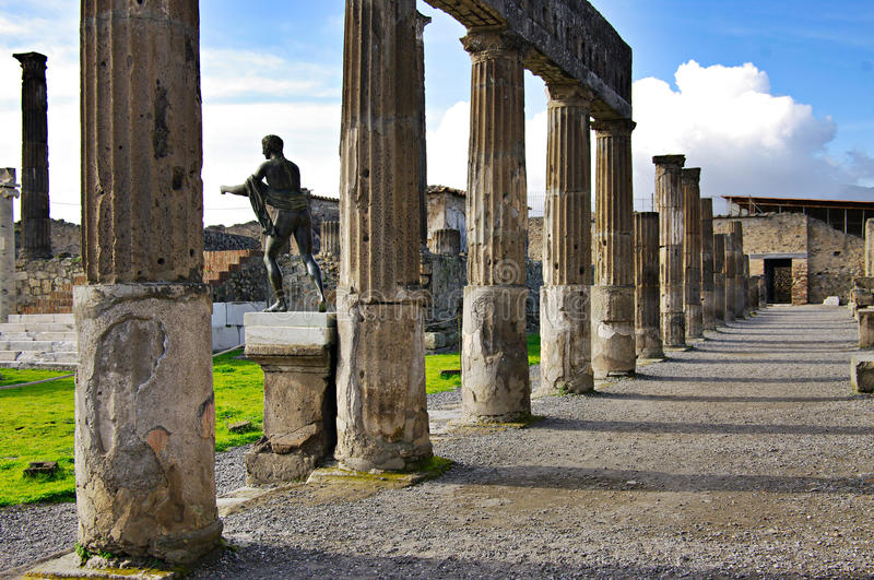 View of Pompeii ruins. Italy. Pompei is a ruined Roman city near modern Naples in the Italian region of Campania. It was destroyed and buried during a stock image
