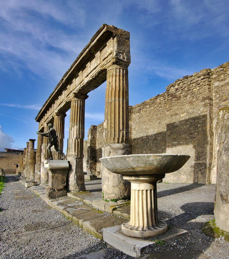 View of Pompeii ruins. Italy. It was destroyed and buried during a catastrophic eruption of the volcano Mount Vesuvius on 24 August 79 AD. The volcano buried royalty free stock photos