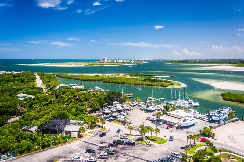 View of Ponce Inlet and New Smyrna Beach from Ponce de Leon Inlet Lighthouse, Florida. stock photos