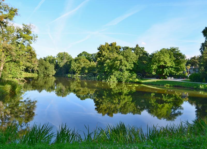 view of the pond in the castle park , castle Lednice , historical Lednice -Valtice area, South Moravia royalty free stock image