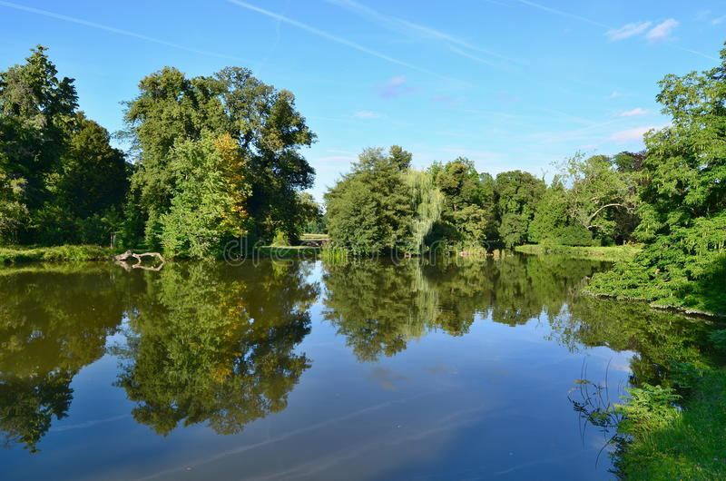 view of the pond in the castle park , castle Lednice , historical Lednice -Valtice area, South Moravia royalty free stock photos