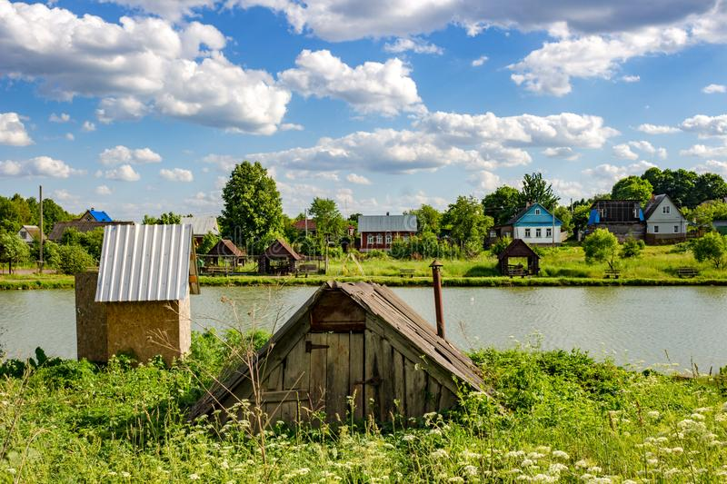 View of the ponds in the village Uvarovskoe summer bright day. Russia royalty free stock images