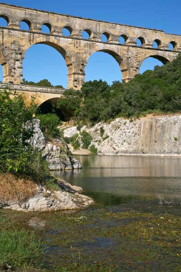 View on Pont du Gard royalty free stock photos
