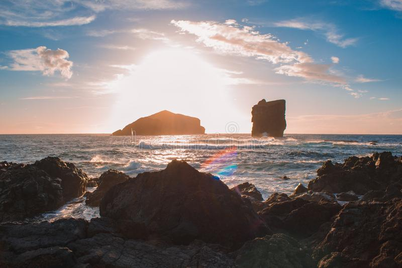 View from Ponta do Castelo, rocky coastline at the west coast of Sao Miguel Island, Azores, Portugal stock photos