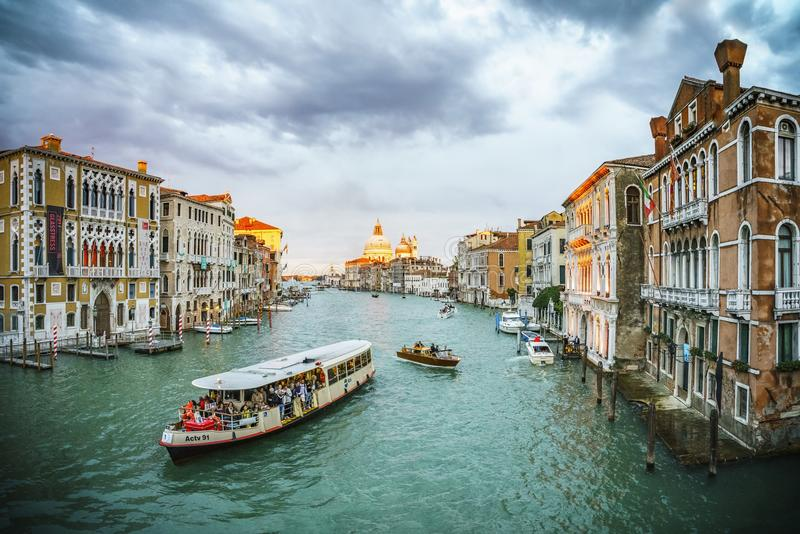 View from the Ponte dell`Accademia on the grand canal in venice stock photo