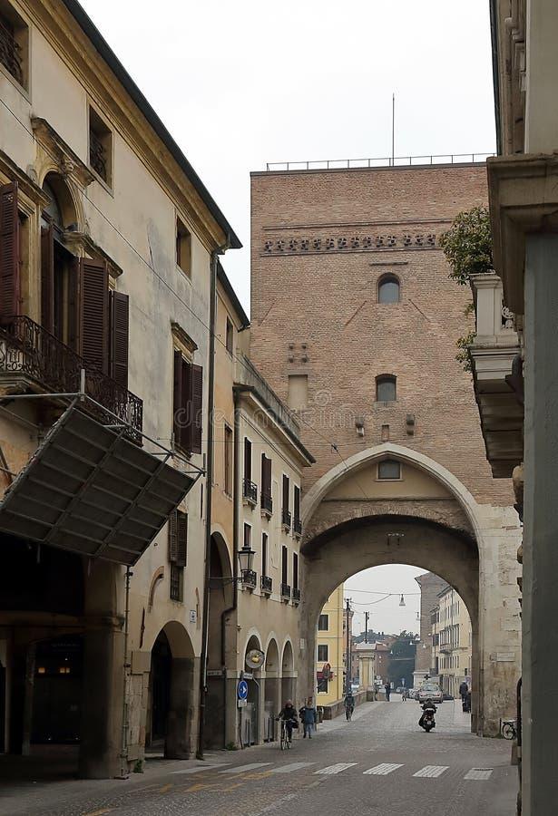 A view of Ponte Molino, Roman segmental arch bridge across the Bacchiglione river. PADUA, ITALY: A view of Ponte Molino, Roman segmental arch bridge across the stock photography