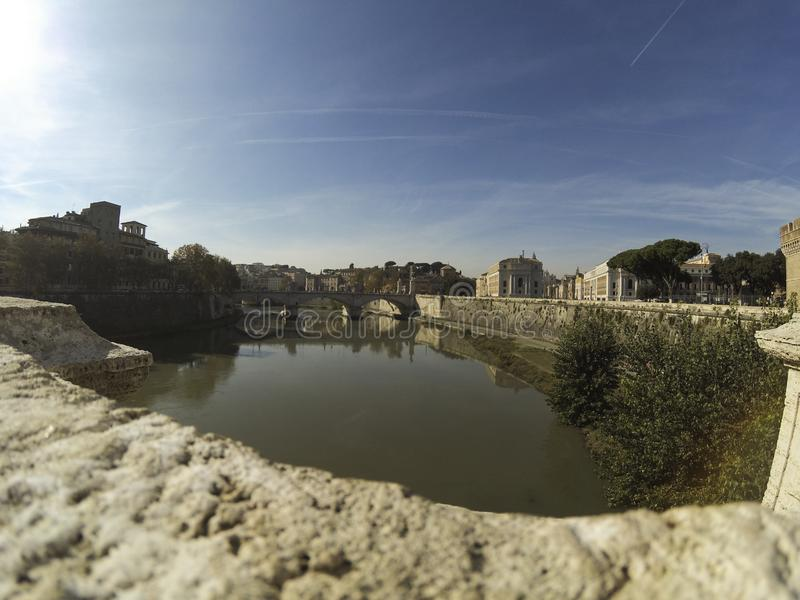 View from Ponte Sant`Angelo bridge on a river Tiber, Rome, Italy. royalty free stock photos