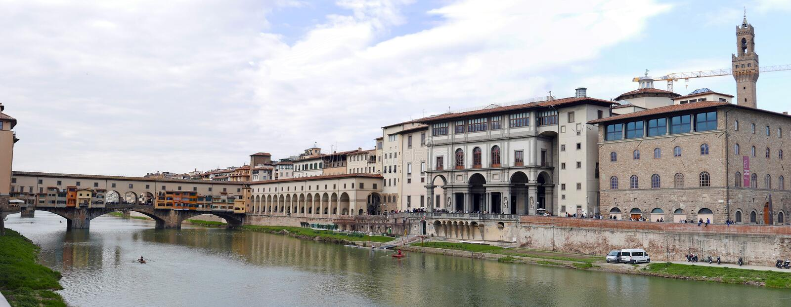 Ponte Vecchio. View of Ponte Vecchio with river Arno, Florence, Italy royalty free stock photography