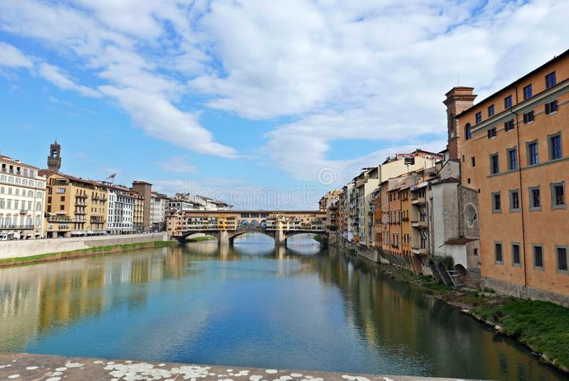 Ponte Vecchio. View of Ponte Vecchio with river Arno, Florence, Italy royalty free stock photos