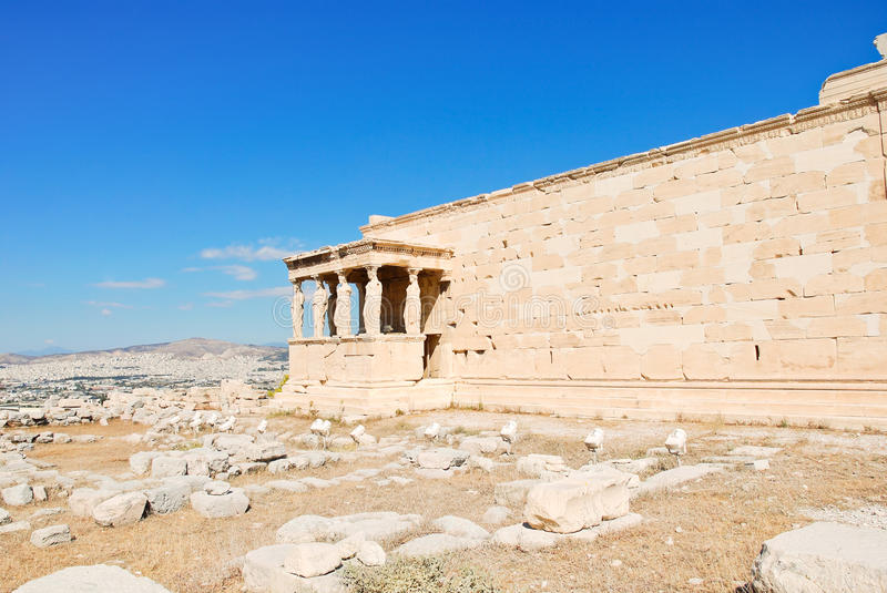 View of Porch of the Caryatids on Acropolis hill. Athens, Greece stock photos