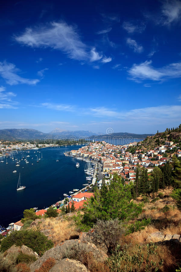 Download View on Poros and Galatos stock photo. Image of harbor - 10112432