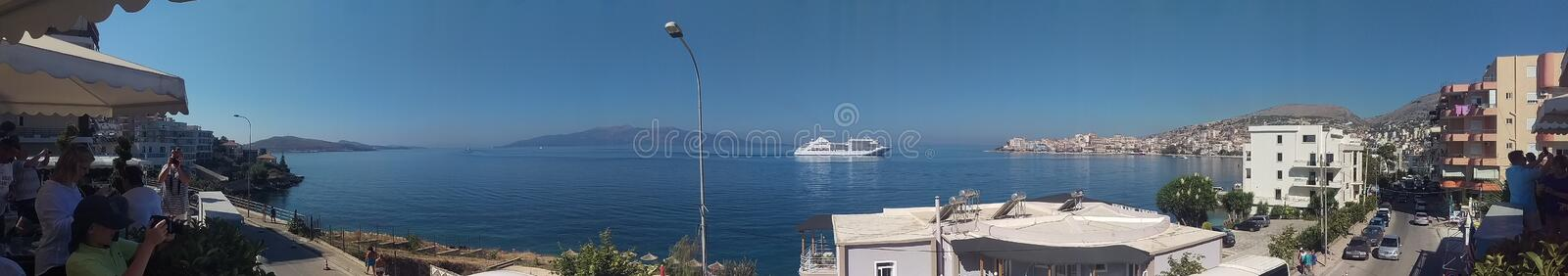 View of the port in Albania stock image