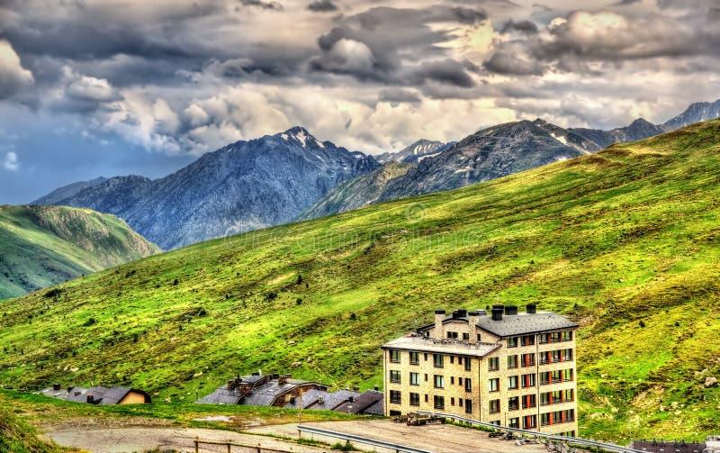 View of Port d'Envalira (2408 m) mountain pass royalty free stock photos