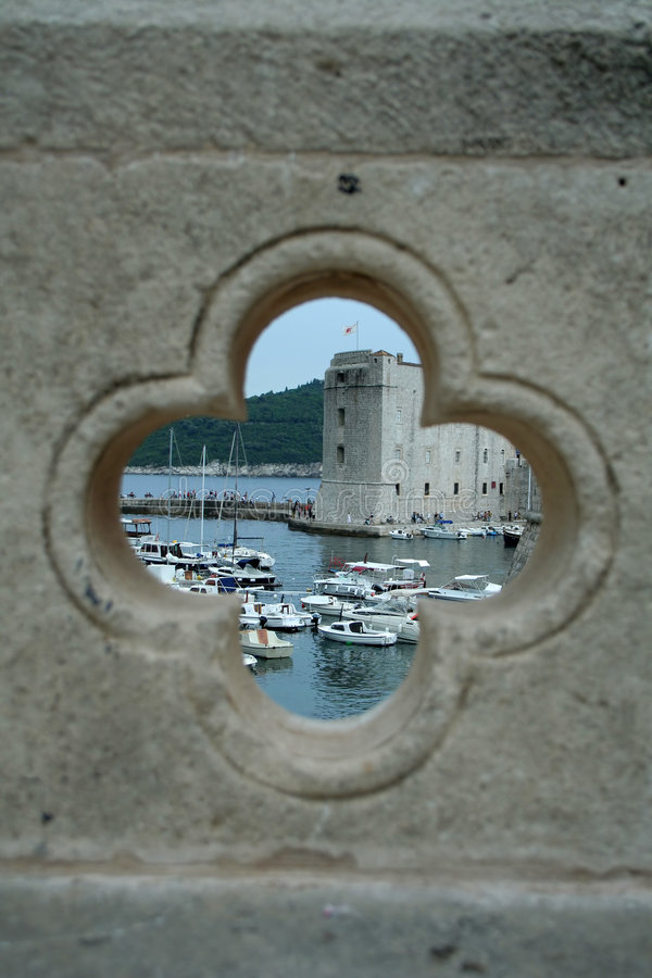 Download View On The Port In Dubrovnik From The Hole In Bridge Stock Photo - Image: 1199522