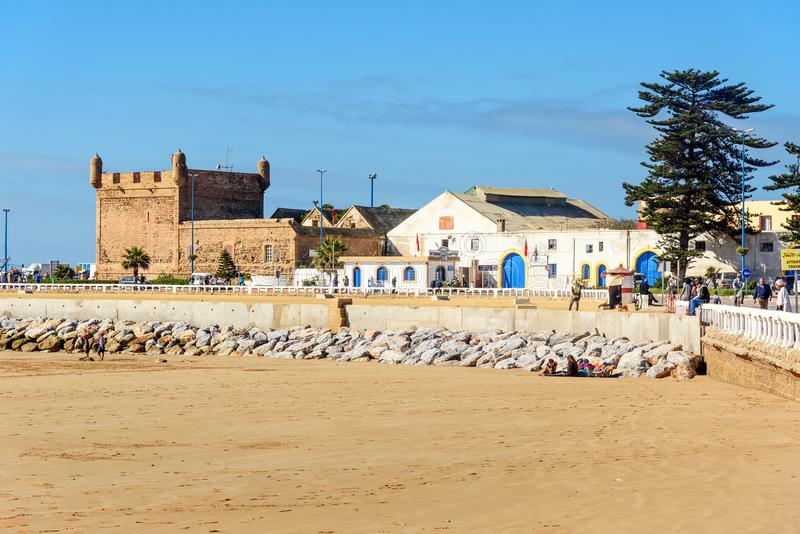 View on the port in Essaouira. Morocco royalty free stock photography