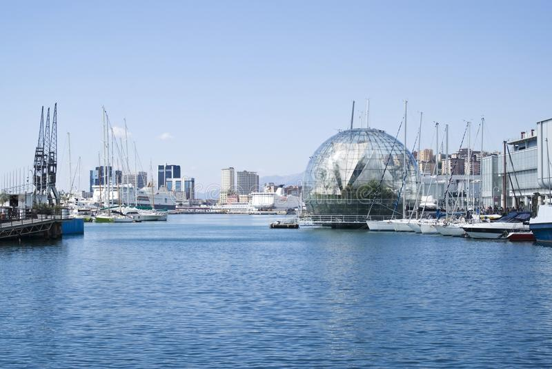 View the port of Genoa. A panoramic view the port of Genoa, one of the most important seaports of Mediterranean sea royalty free stock image