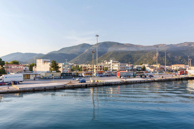View on port and green mountains of Greece stock image