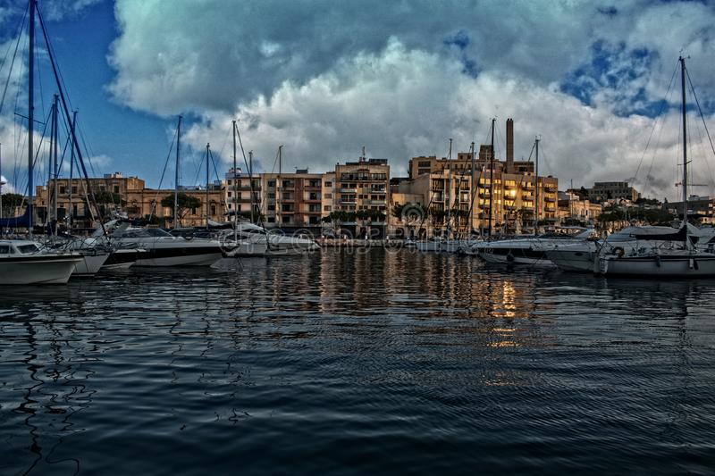 A view of a port in Msida, Malta stock image