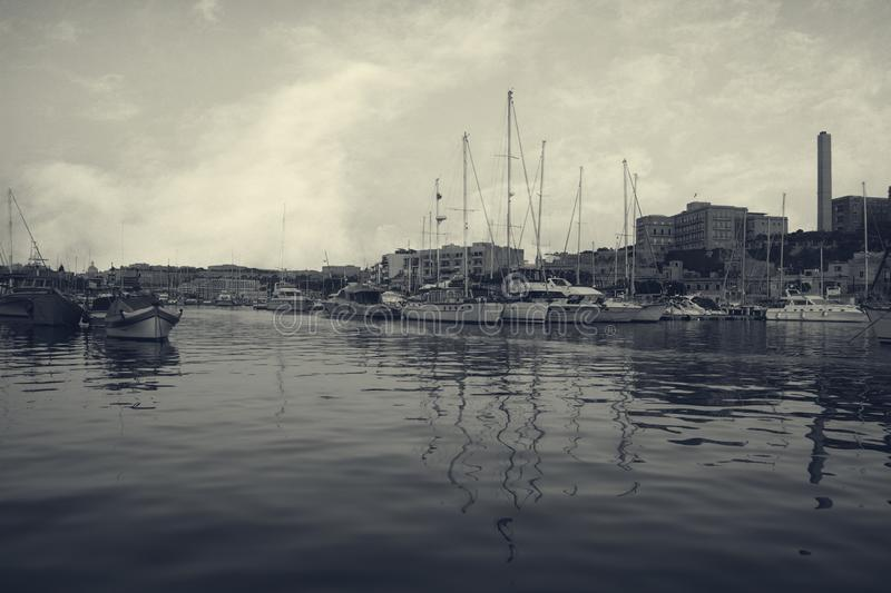 View of a Port in Msida, Malta in vintage times stock photography