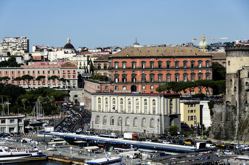 View from the port of Naples, Italy stock photography