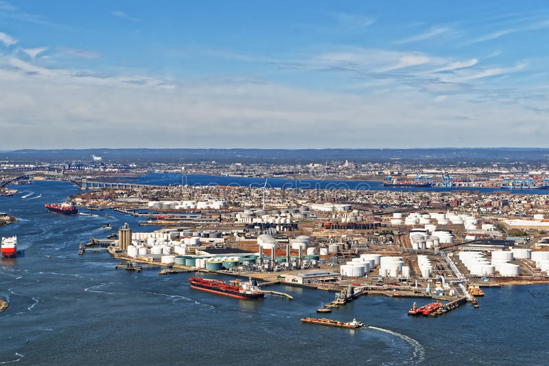 View of Port Newark and the MAERSK shipping containers in Bayonne. New Jersey. The area is known for oil storage and international shipping stock photography