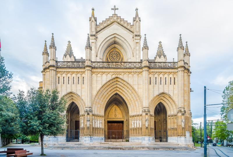View at the Portal of Cathedral of Santa Maria Immaculada in Victoria-Gasteiz, Spain royalty free stock photography