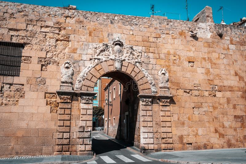 View of The Portal de Sant Antoni gate on the wall of Tarragona stock image