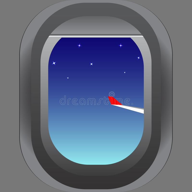 The view from the porthole of the aircraft to the wing and the starry evening sky. Vector image. stock illustration