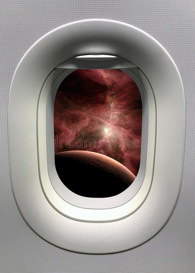 View from a porthole on the Mars background. Elements of this image furnished by NASA.  stock images