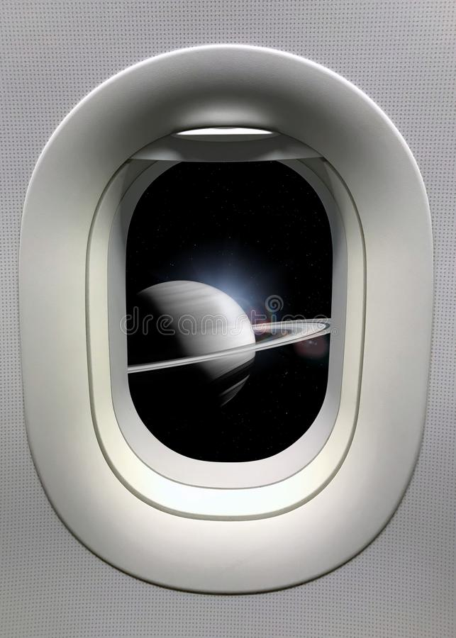 View from a porthole on the Saturn background. Elements of this image furnished by NASA.  stock photos