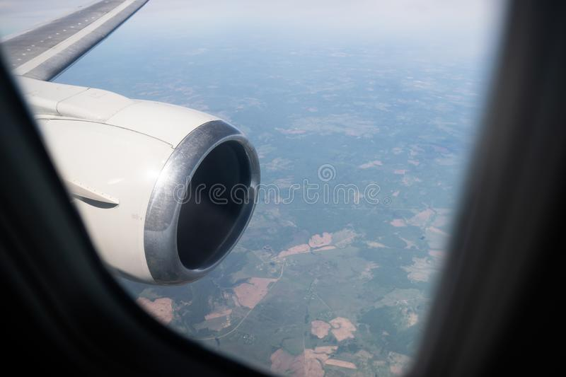 View from the porthole window on a board an airbus stock photo