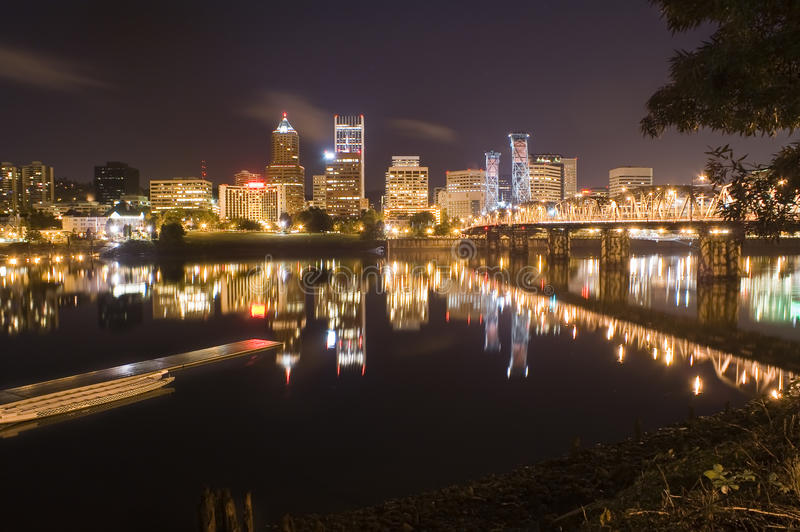 View of Portland, Oregon Cityscape. Portland, Oregon Panorama. Night scene with light reflections on the Willamette River royalty free stock photography