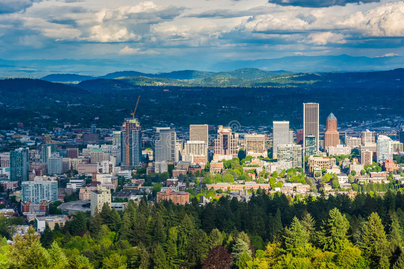 View of the Portland skyline from Pittock Acres Park, in Portland, Oregon. royalty free stock photo