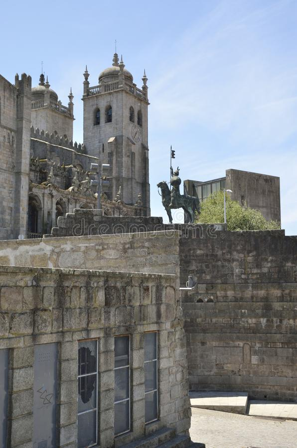 View of Porto cathedral. Cathedral of Porto, Portugal. The building is one of the most important Romanesque monuments in Portugal stock photography
