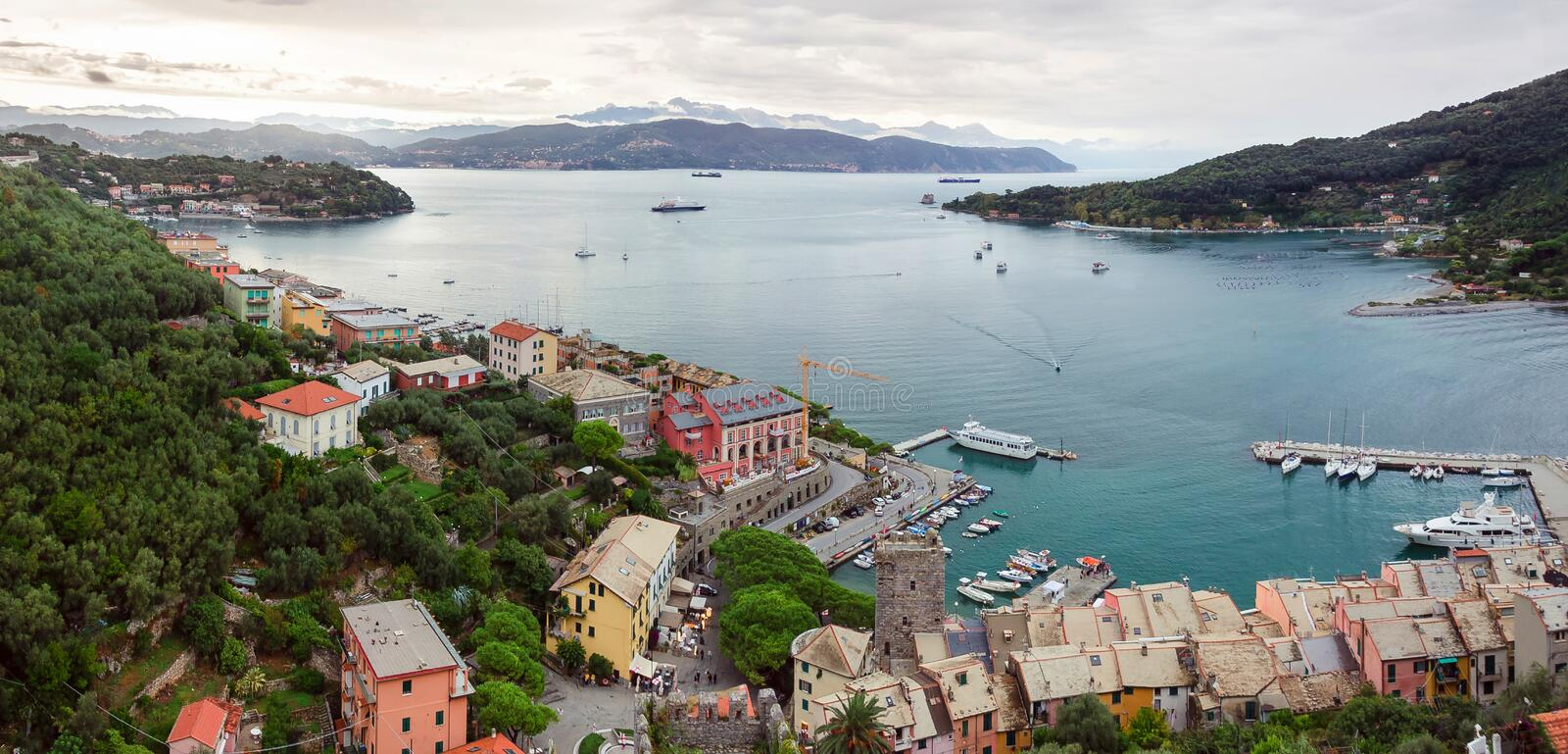 View of Porto Venere bay stock photography