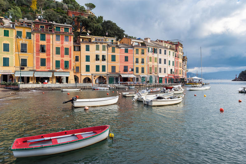 View on Portofino town with colour architecture, located between mountains in Italian Liguria, Italy. royalty free stock image
