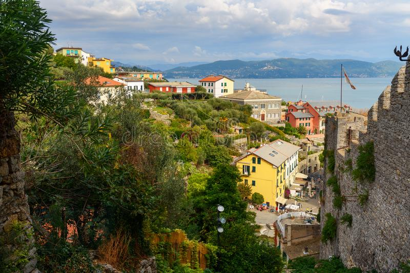 View of Portovenere or Porto Venere town from Castle Doria on Ligurian coast. Italy royalty free stock image