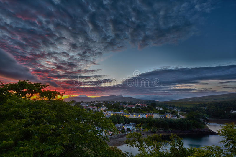 View on Portree before sunset, Scotland stock images